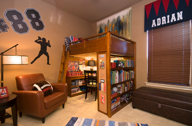 loft bed with desk underneath Spaces Traditional with boys' bedroom kids desk kids room leather armchair loft