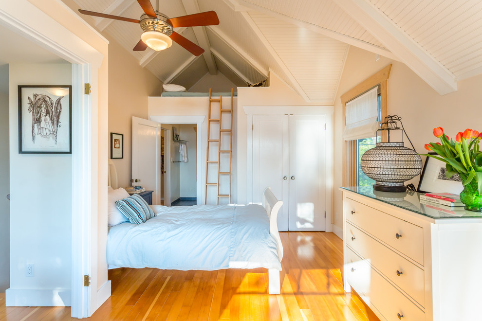 Loft Beds for Adults Bedroom Beach with Airy Beach House Ceiling Fan Classic Ladder