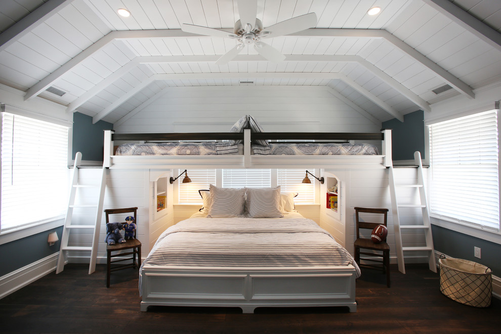 Loft Beds for Adults Bedroom Beach with Blue and White Bunk Room Ceiling Fan
