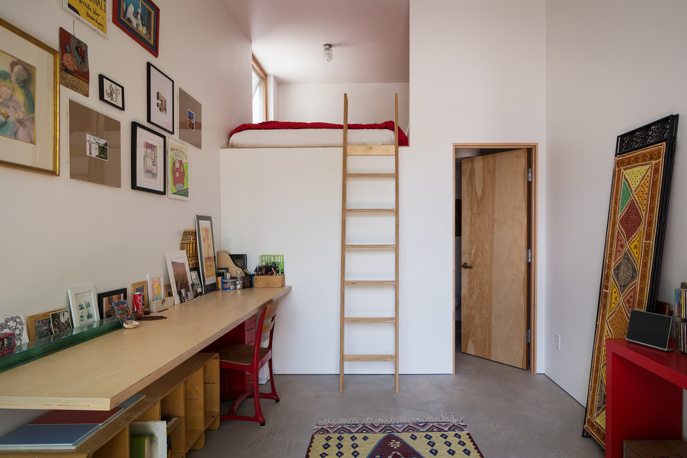 Loft Beds for Adults Home Office Contemporary with Concrete Floor Frame Collage Leaning Artwork Leaning