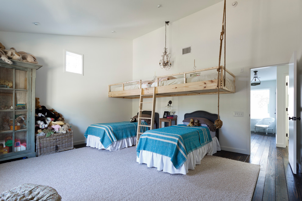 Loft Beds for Adults Kids Contemporary with Black Twin Headboards Blue Blankets Bunk Beds