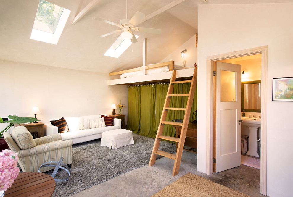 Loft Beds for Adults Living Room Contemporary with Bathroom Door Bright Airy Calming Concrete Floor