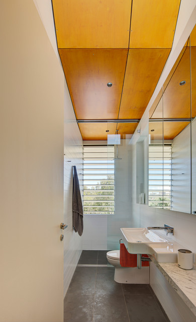Louvered Windows Bathroom Contemporary with Alterations and Additions Flat Spout Full Bath Hall Bath1