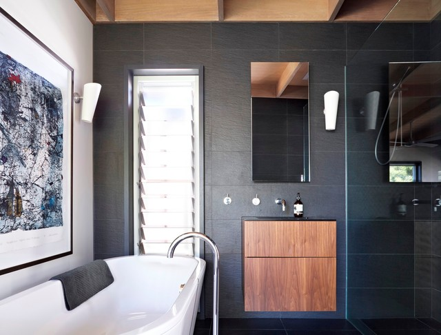 Louvered Windows Bathroom Contemporary with Black and White Environmentally Sustainable Floating Bathroom Cabinet Glass1