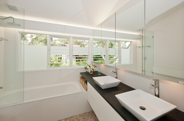 Louvered Windows Bathroom Contemporary with Cove Lighting Double Bathroom Vanity Frosted Glass Glass Shower1