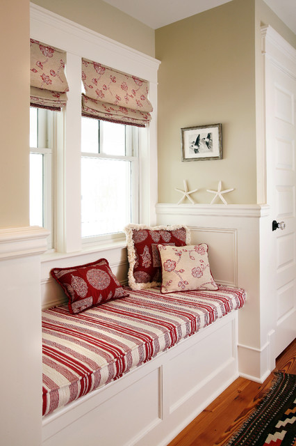 Love Seat Cover Hall Beach with Beach House Built in Bench Cottage Craftsman Fabric Red And