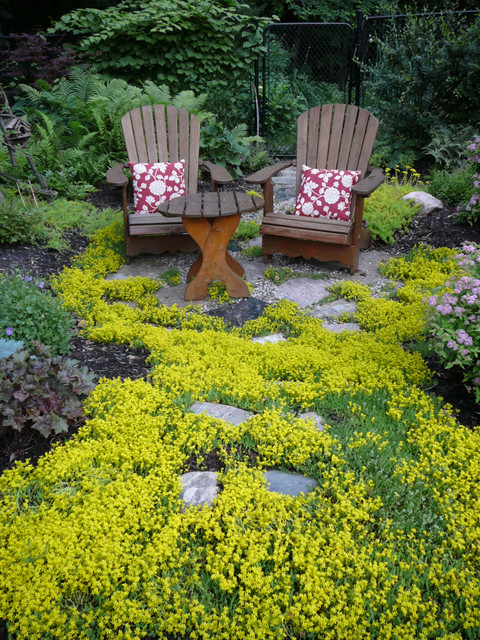 Love Seat Cover Landscape Traditional with Bushes Gardens Ground Cover Muskoka Chairs Shrubs Sitting Area