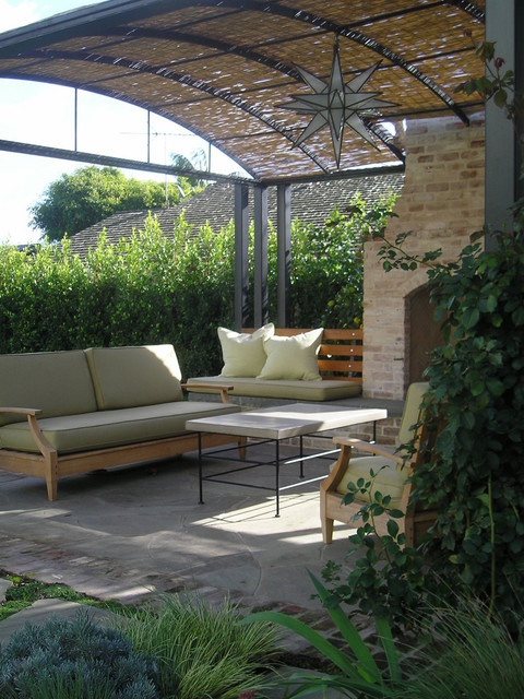 love seat cover Patio Traditional with bench seat brick coffee table concrete curved awning outdoor