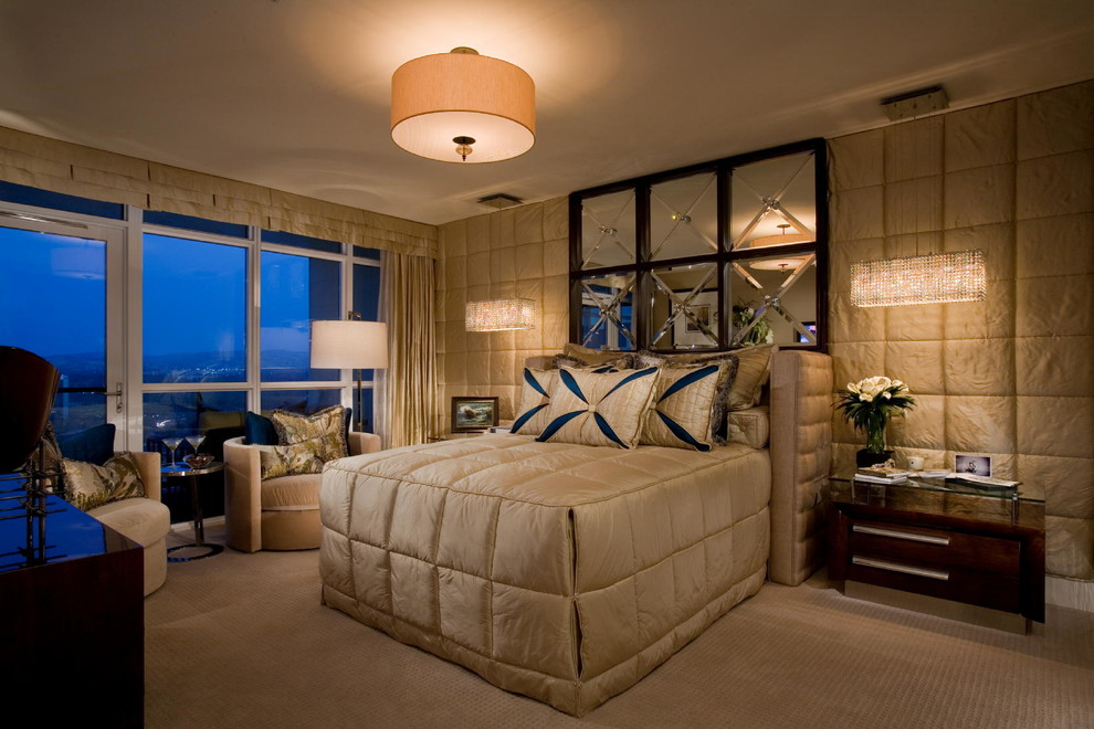 Low Pile Carpet Bedroom Contemporary with Beige Carpet Blue and White Pillows Crystal
