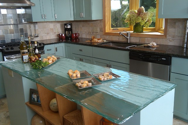 Lowes Counter Tops Kitchen Contemporary with Bay Window Black Countertop Blue Cabinets Cabinets Glass Countertop