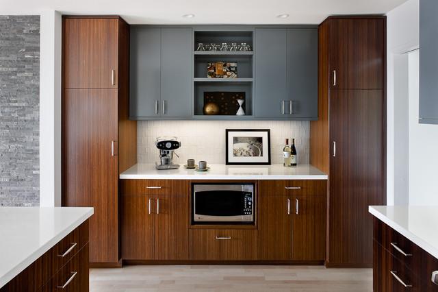 lowes counter tops Kitchen Modern with custom wood cabinets gray cabinets open shelving symmetrical tile
