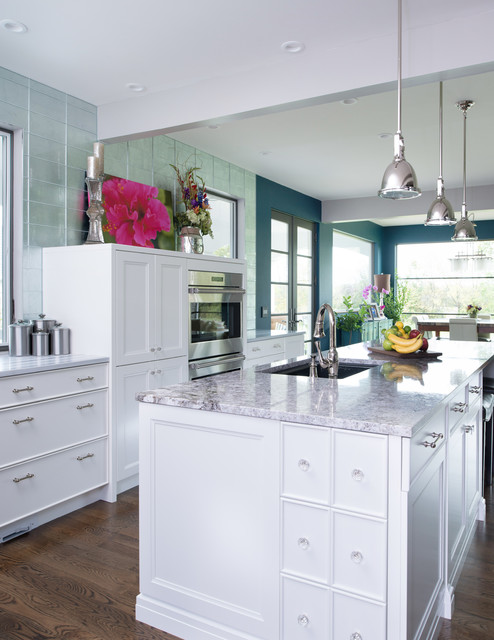 lowes granite Kitchen Transitional with blue walls Kitchen Sink in Island pendant light recessed