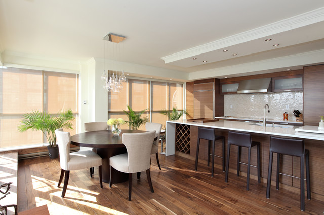Lowes Hardwood Flooring Kitchen Contemporary with Breakfast Bar Bubble Pendant Ceiling Lighting Eat in Kitchen