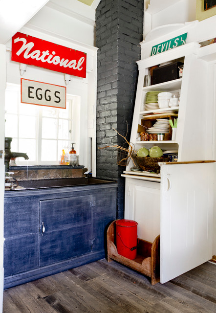 Lowes Laminate Flooring Kitchen Farmhouse with Antique China Cabinet Corner Eclectic Painted Brick Signs Window