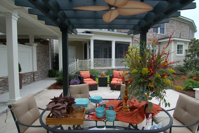 Lowes Outdoor Ceiling Fans Patio Traditional with Brick Walls Ceiling Fan Chair Cushions Chaise Lounge Charleston
