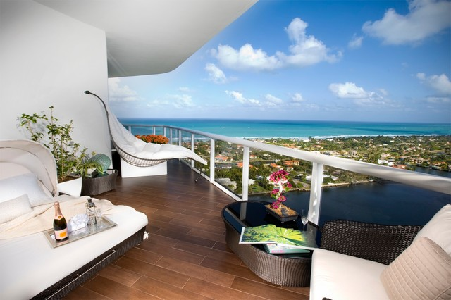 lowes porcelain tile Patio Modern with balcony beach front beach view black glass overlay blue