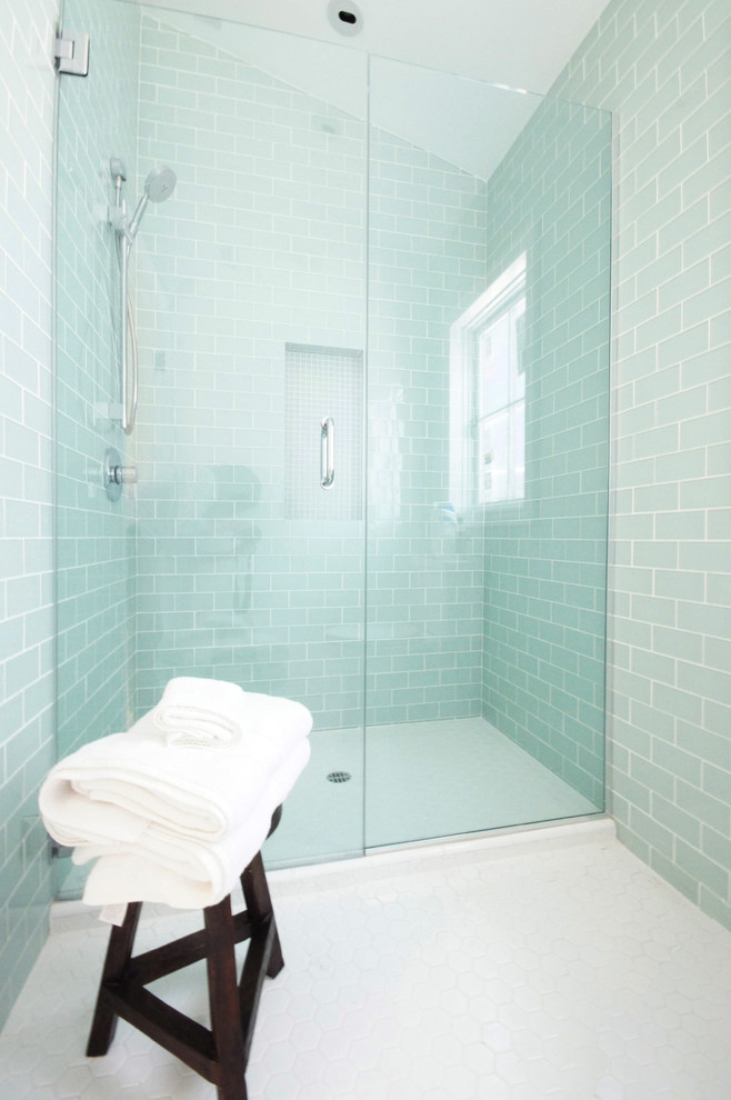 Lowes Subway Tile Bathroom Contemporary with Aqua Tiles Clear Glass Clear Glass Shower