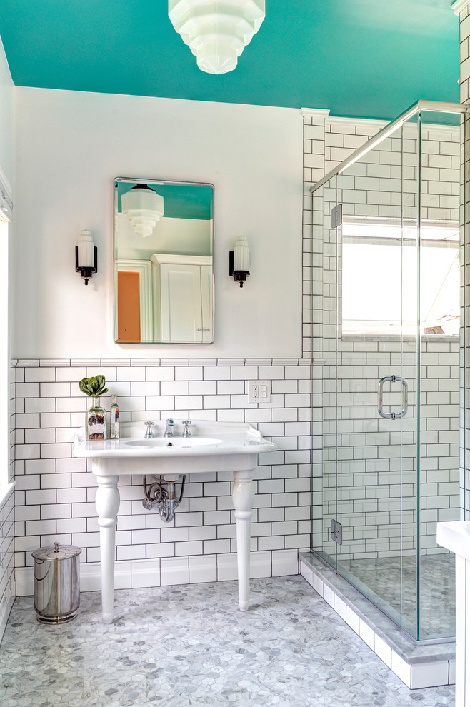 Lowes Subway Tile Bathroom Victorian with Chrome Dark Grout Exposed Plumbing Glass Shower1