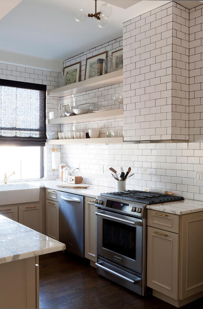 lowes subway tile Kitchen Transitional with apron sink custom hood dark stained wood