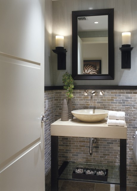 lowes-tile-saw-Powder-Room-Transitional-with-black-wood-trim-glass ...