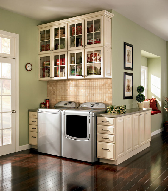 lowes washers and dryers Laundry Room Traditional with beige cabinets beige drawers beige tile backsplash built-in window