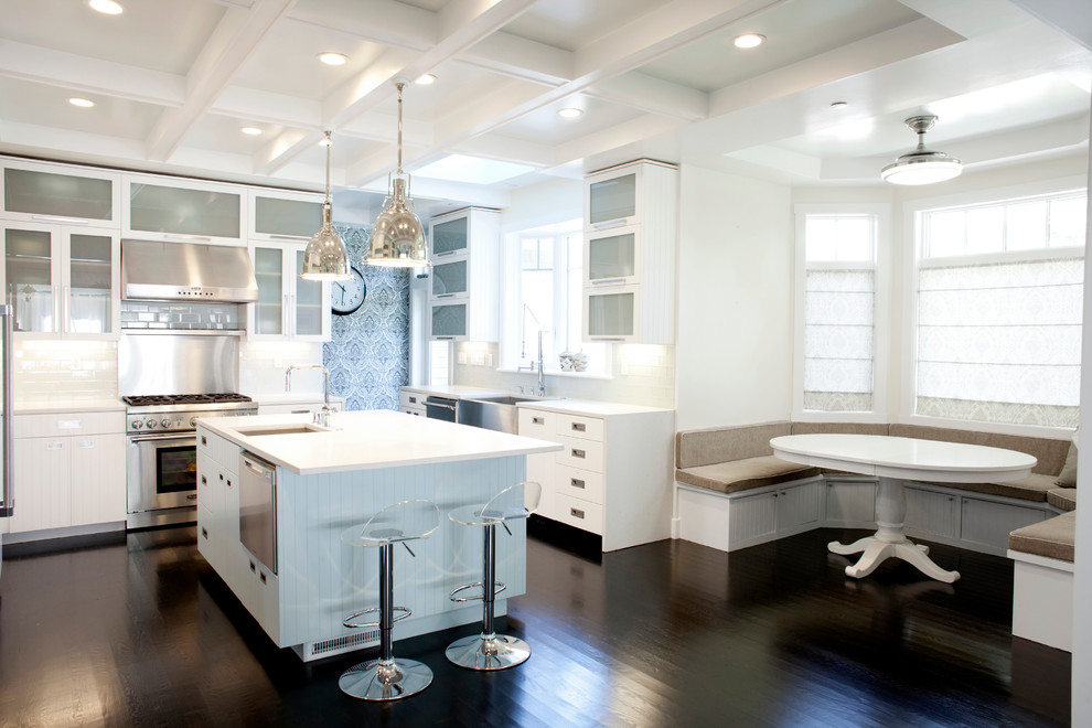 Lucite Bar Stools Kitchen Contemporary with Banquette Seating Bay Window Beadboard Coffered Ceiling