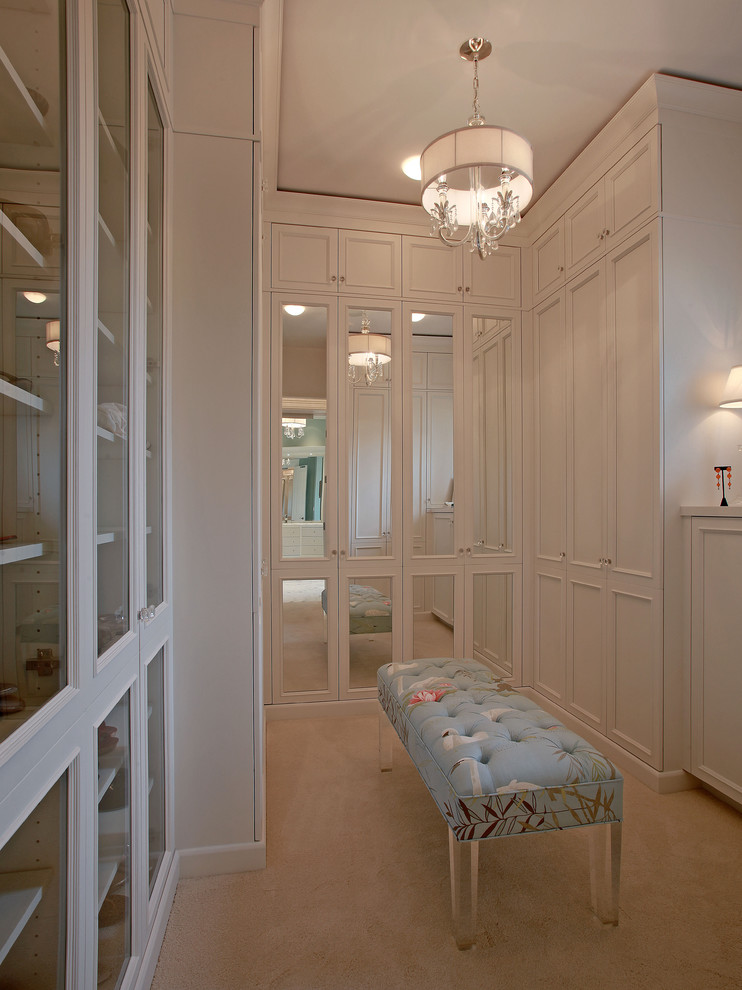 Lucite Bench Closet Traditional with Carpeting Drum Shade Frame and Panel Glass