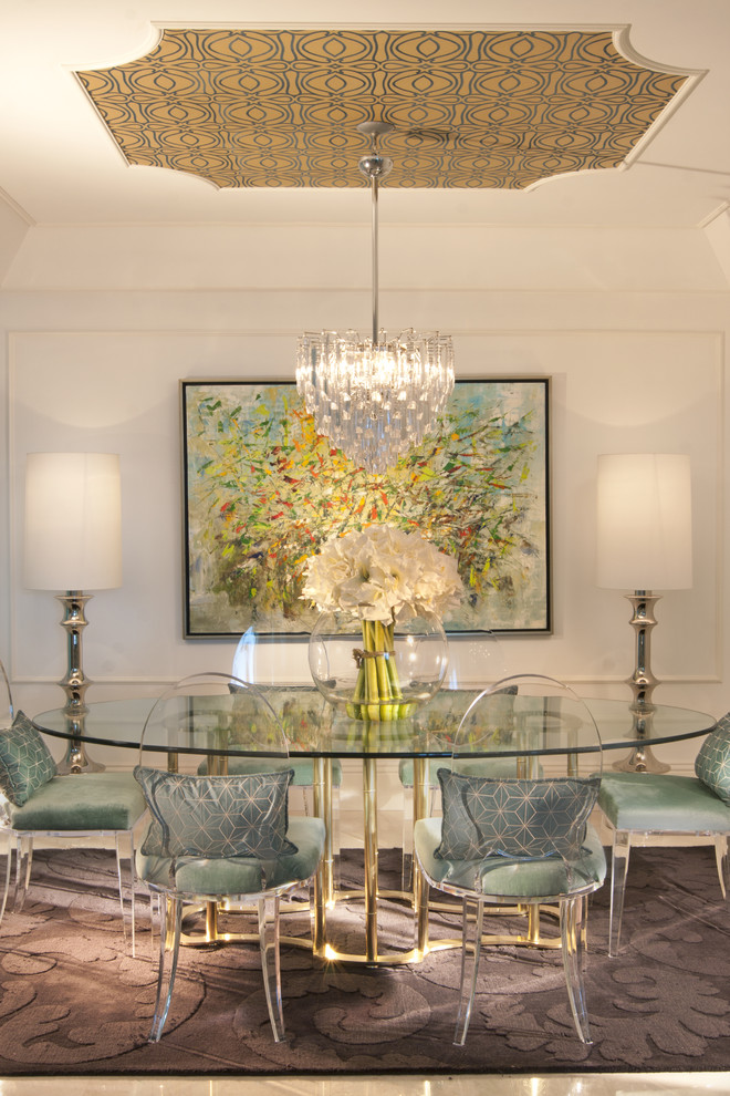 Lucite Chairs Dining Room Eclectic with Area Rug Artwork Centerpiece Chair Cushions Floor