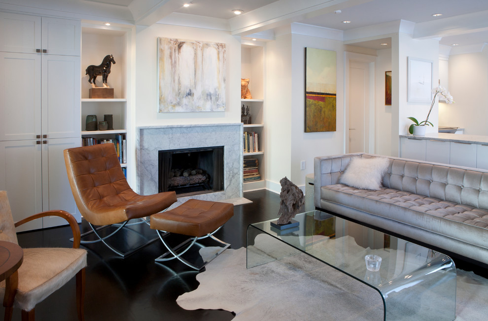 Lucite Coffee Table Living Room Contemporary with Art Beams Built in Shelves Ceiling Lighting Coffered