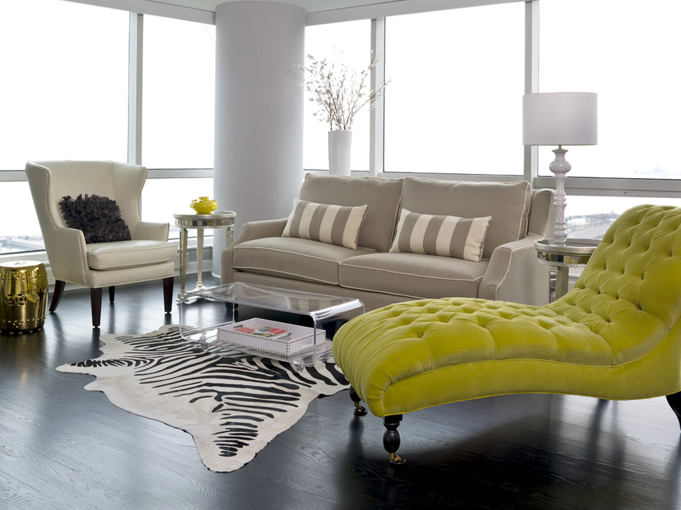 Lucite Coffee Table Living Room Transitional with Chaise Longue Contemporary Dark Hardwood Floor Gold