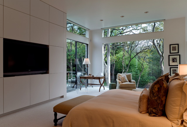 Lutron Shades Bedroom Midcentury with Acrylic Chair Bed Bedroom Bench Brick Clerestory Window Glass