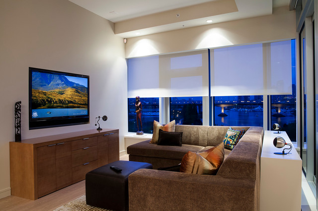 Lutron Shades Family Room Contemporary with Accent Lighting Beige Ceiling Beige Wall Blinds Brown Sectional
