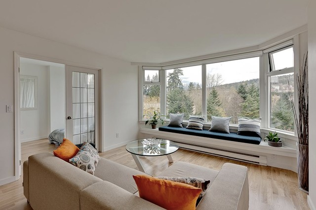 Lutron Shades Living Room Modern with Bay Window Blinds Blue Built in Bench Seat Coffee