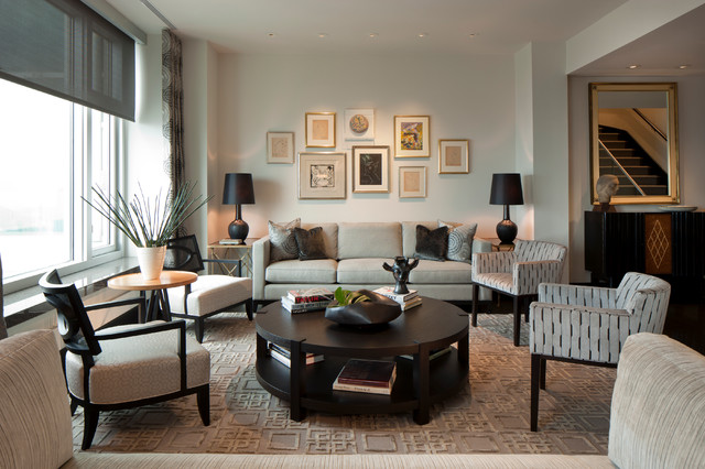 Lutron Shades Living Room Transitional with Area Rug Artwork Ceiling Lighting Gallery Wall Neutral Colors