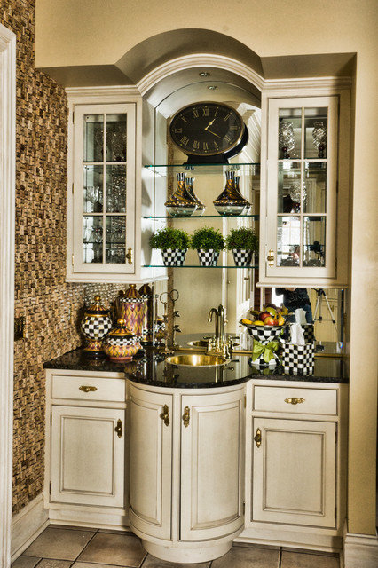 Mackenzie Childs Outlet Kitchen Traditional With Brass Accents Brass Faucet  And Sink Cork Wall Curved