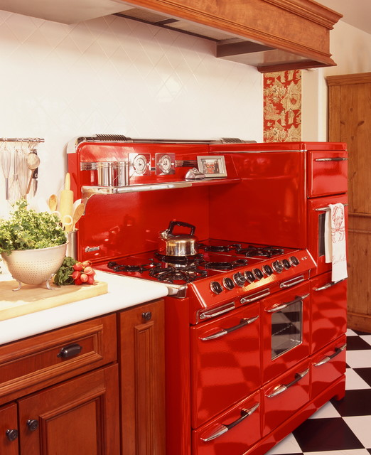 Magic Chef Stove Kitchen Traditional with Black and White Floor Checker Print Floor Cherry Cabinets