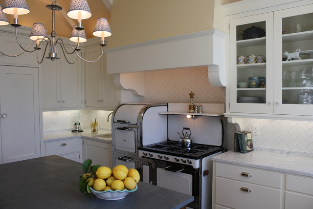 Magic Chef Stove Kitchen Traditional with Beams Beige Chandelier Dark Stained Wood Glass Front Cabinets