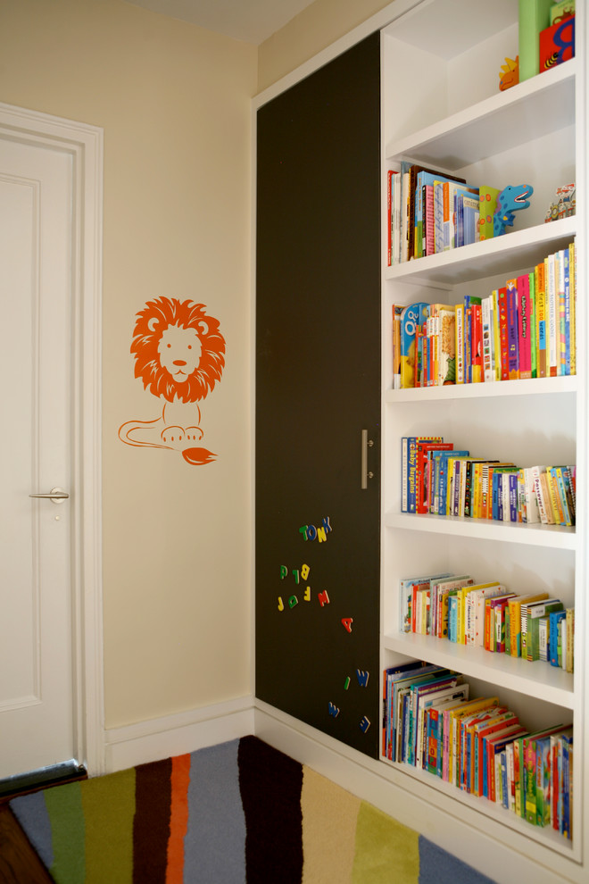 Magnetic Chalkboard Kids Transitional with Beige Wall Built in Bookcase Built in Bookshelf Kids
