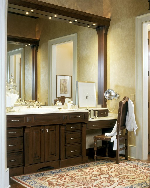 magnifying mirror with light Bathroom Traditional with apothecary jars baseboard makeup area oriental rug paint treatment