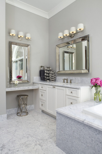 Magnifying Mirror with Light Bathroom Transitional with 6 Inch Back Splash Beveled Mirror Carerra Crown Molding