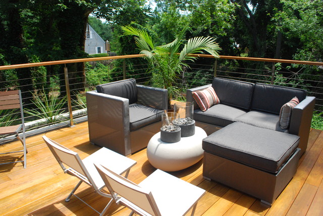 mahogany decking Deck Contemporary with cable railing concrete planters mahogany deck modern deck modern