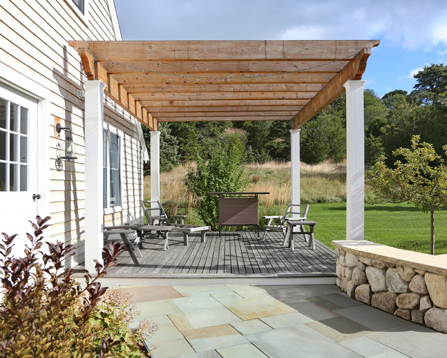Mahogany Decking Deck Farmhouse with Attached Deck Back Patio Bluestone Walkway Deck Outdoor Living