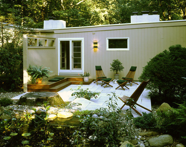 Mahogany Decking Exterior Midcentury with Deck Flat Roof French Doors Glass Doors Mid Century