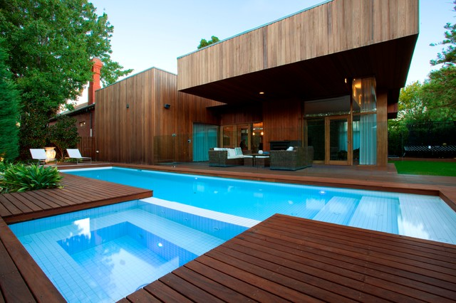 Mahogany Decking Pool Modern with Blue Interior Ceramic Tiles Cleardeck Concealed Cover Decking Eco