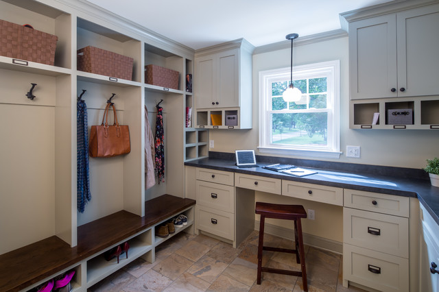 Mail Slot Catcher Entry Transitional with Black Countertop Built in Bench Built in Desk Built in Storage Coat