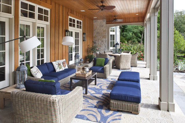 Mainstays Patio Furniture Porch Traditional with Board and Batten Wood Siding Outdoor Cushions Outdoor Lighting
