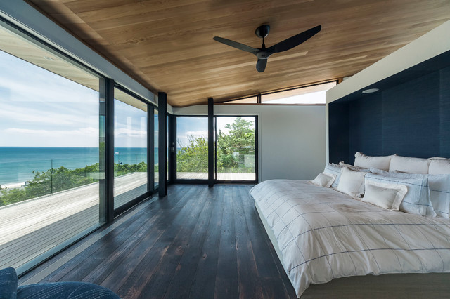 Mannington Vinyl Flooring Bedroom Contemporary with Accent Wall Balcony Beach Home Beachfront Bed Bedding Ceiling