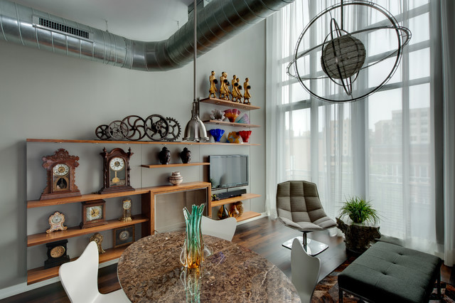 Mantel Clock Family Room Eclectic with Collection Custom Shelving Ecosmart Fire Ecosmart Fire Fireplace Escriba
