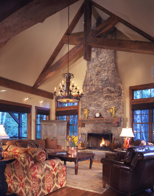 Mantel Clock Living Room Rustic with Cathedral Ceiling Chandelier Copper Flower Pot Exposed Beams Exposed
