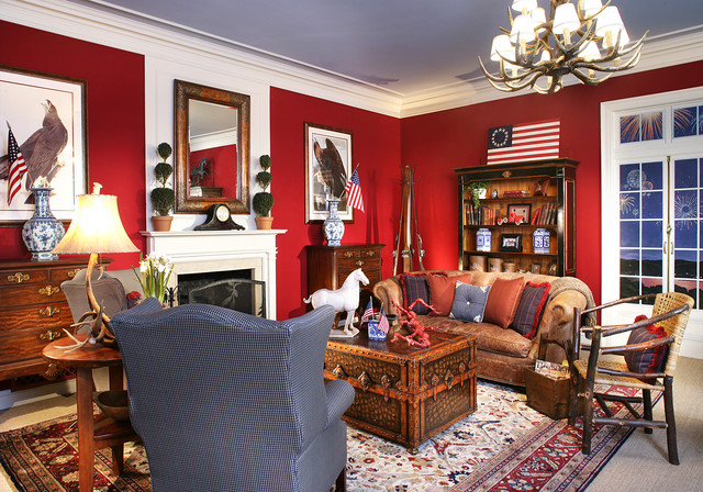 Mantel Clock Living Room Victorian with Americanflag Antique Clock Brown Leather Sofa Colonial Flag Crown